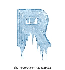 Letter R. Ice font isolated on white background. Alphabet.