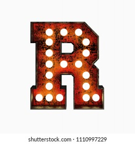 Letter R. Realistic Rusty Light Bulb Font in Metal Frame. 3d Rendering Illustration isolated on White Background.
