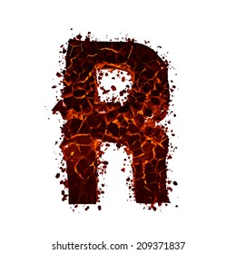 Letter R. Red burning fire alphabet isolated on white background.