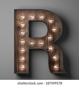 Letter R for sign with light bulbs