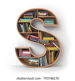 Letter S. Alphabet in the form of shelves with books isolated on white. 3d illustration