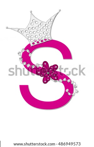 the letter s in the alphabet set pageant queen is bright pink and
