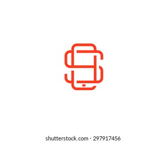 Letter S logo design. Smartphone lined symbol. Mobile phone creative sign. Phablet, Tablet PC, gadget mark