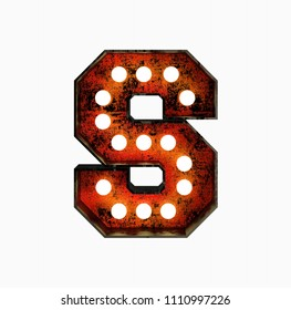 Letter S. Realistic Rusty Light Bulb Font in Metal Frame. 3d Rendering Illustration isolated on White Background.