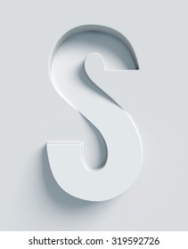Letter S slanted 3d font engraved and extruded from the surface