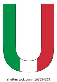 Letter series with flag inside - Italy