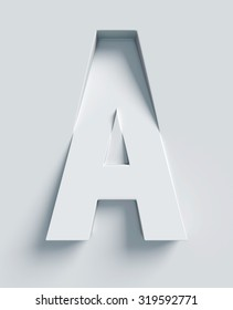 Letter A slanted 3d font engraved and extruded from the surface