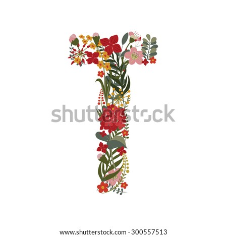 Letter T - 20 letter of the alphabet. hand-drawn monogram composed of flowers