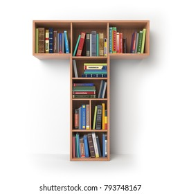 Letter T. Alphabet in the form of shelves with books isolated on white. 3d illustration