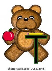 """The letter T, in the alphabet set """"Bear Alphabet Lesson"""" is decorated with a pencil and apple.  Brown bear fills in background."""