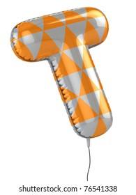 letter T balloon 3d illustration