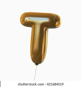 Letter T. Balloon font isolated on White Background.