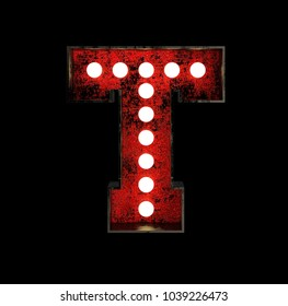 Letter T. Broadway Style Light Bulb Font made of rusty metal frame. 3d Rendering isolated on Black Background