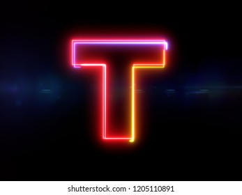 Letter T - colorful glowing outline alphabet symbol on blue lens flare dark background