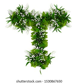 Letter T made of flowers and grass isolated on white. 3d illustration.