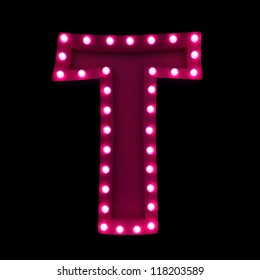 letter T with neon lights isolated on black background