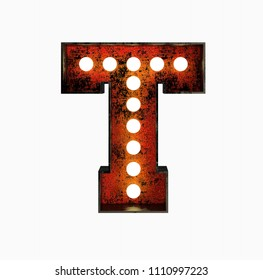 Letter T. Realistic Rusty Light Bulb Font in Metal Frame. 3d Rendering Illustration isolated on White Background.