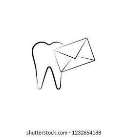 letter, tooth, send icon. Element of dantist for mobile concept and web apps illustration. Hand drawn icon for website design and development, app development