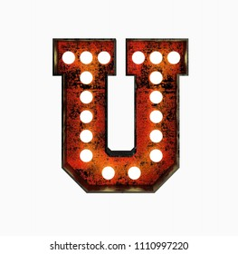 Letter U. Realistic Rusty Light Bulb Font in Metal Frame. 3d Rendering Illustration isolated on White Background.