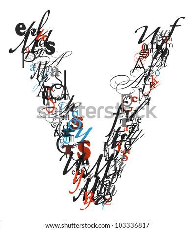 Letter V Alphabet Different Font Letters Stock Illustration