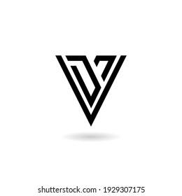 Letter V Logo Design with shadow