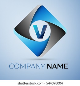 Letter V logo symbol in the colorful rhombus. Template for your design