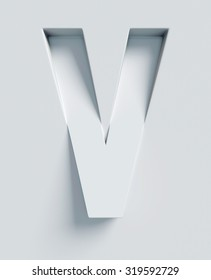 Letter V slanted 3d font engraved and extruded from the surface