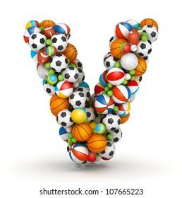 Letter V, stacked from gaming balls alphabet