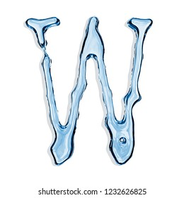 Letter W from clear transparent bluish water droplets. Isolated on white background. 3d rendering.