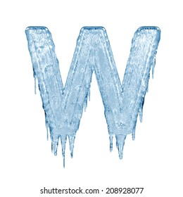 Letter W. Ice font isolated on white background. Alphabet.