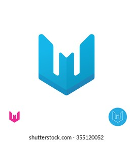 Letter W or M logo icon design template. Blue W icon ribbon related to bank, plane, bomber, bird, supermen identity and industry. Symbol for real estate or any building company. Technology logotype.