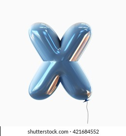 Letter X. Balloon font isolated on White Background.