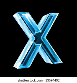 letter x in blue glass 3D