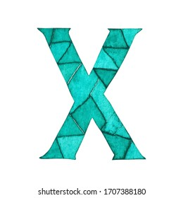 Letter X hand painted in watercolor mosaic technique, turquoise lettering