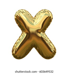 Letter X metallic blue shiny foil party celebration balloon a plain white background. 3D rendering