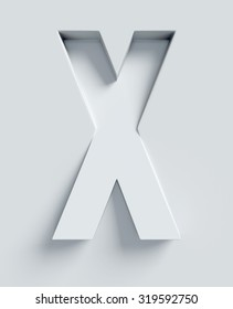 Letter X slanted 3d font engraved and extruded from the surface
