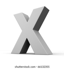 Letter X from solid alphabet. There is a clipping path