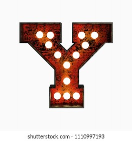 Letter Y. Realistic Rusty Light Bulb Font in Metal Frame. 3d Rendering Illustration isolated on White Background.