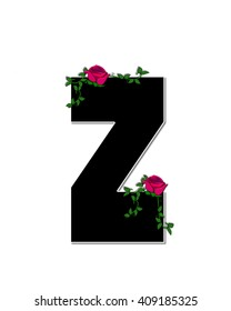 "The letter Z, in the alphabet set ""Rose Trellis,"" is black with white outline.  Roses and vines grow and spread around letter."