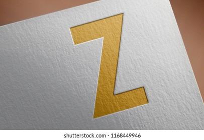 Letter Z. Golden Z Letter 3D Illustration Write On The Paper. Z Letter On The Paper. 3D Rendering.