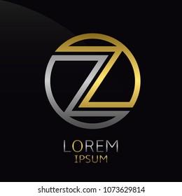 Letter Z logo. Golden round logotype template