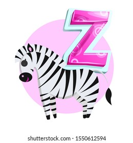 Letter Z for Zebra cartoon alphabet for children. Volume symbol with pattern, striped wild horse with bushy mane and tail brush, raster icon isolated