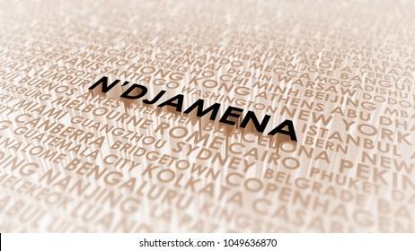 N'djamena lettering, 3d illustration of world's cities.