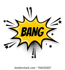 Lettering bang boom star. Comics book balloon. Bubble icon speech phrase. Cartoon exclusive font label tag expression. Comic text sound effects. Popart speed line. Sound illustration.