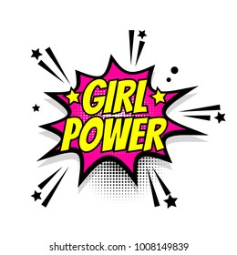 Lettering girl power, boom star. Comics book balloon. Bubble icon speech phrase. Cartoon exclusive font label tag expression. Comic text sound effects. Sounds illustration.