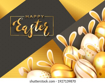 Lettering Happy Easter and set of golden Easter eggs with bunny ears on holiday black and gold background. Illustration with Easter rabbit can be used for holiday design and cards.