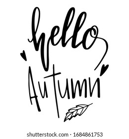 Lettering hello autumn words cute outline doodle art. Print for cards, posters, banners, stickers, web, fabrics, textiles, wrapping paper, boxes, packages, decor, invitation cards.