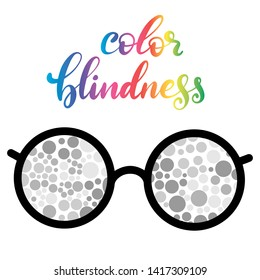 Lettering illustration of a word color blindness with glasses for poster in hospital, medical brochure. Dots of ishihara daltonism test. Ophthalmologic disease. White background.
