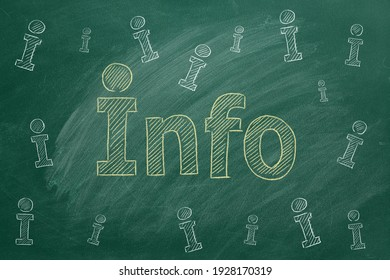 Lettering INFO drawn in chalk on a green chalkboard. Information support, customer support. FAQ concept