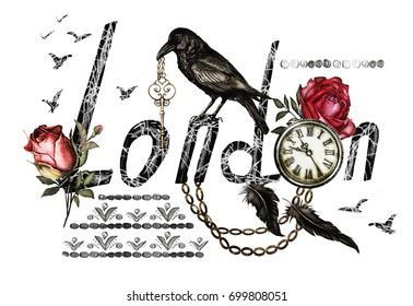 Lettering - London, watercolor illustration with crow, red roses, clock, keys and feathers. Gothic background with flowers. Travel, Cool print on T-shirt, Vintage. England.